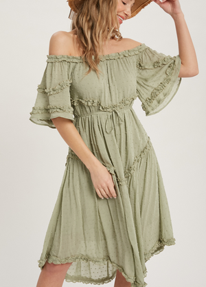 Lucy Sage Babydoll Dress