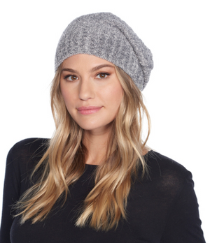 Barefoot Dreams Heathered Ribbed Beanie Grey