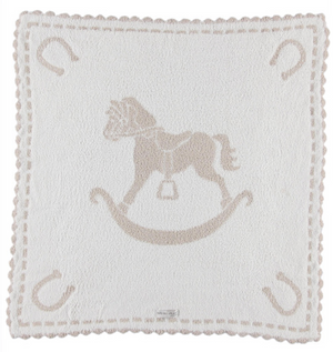 Barefoot Dreams Scalloped Baby Blanket w Horse