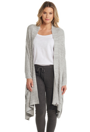 Barefoot Dreams CozyChic Lite Travel Shawl in Pewter/Pearl