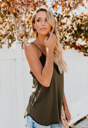 OMG!! The Cutest Lace Trim Camo Green Cami