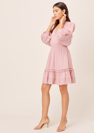 Volume Sleeve Boho Dress Mauve
