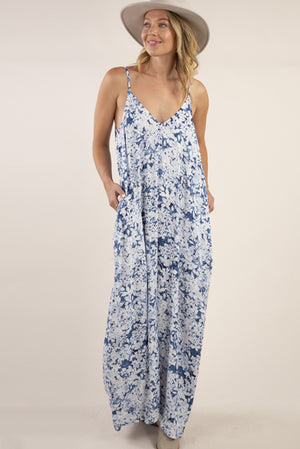 THE Cocoon Maxi Dress Blue Floral