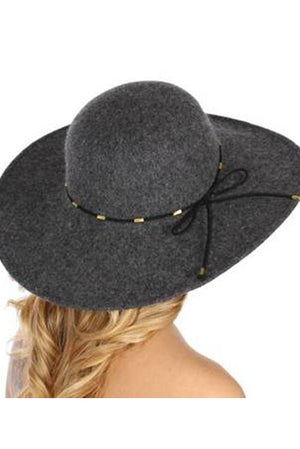 Boho Floppy Hat w Leather Detail