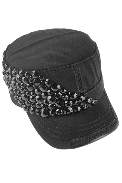 Hand Blinged Hat w Black Crystal