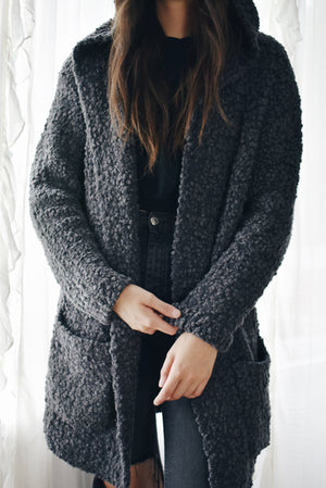 Barefoot Dreams Boucle Hooded Cardi Charcoal TOP SELLER