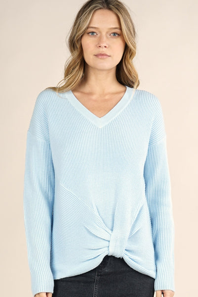 V-Neck Thermal Waffle Sweater Baby Blue