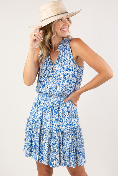 Milly Printed Dress Blue