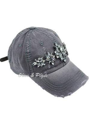 Olive & Pique Grey Hat w Tonal Bling