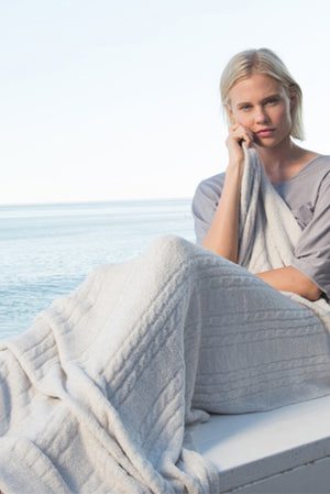 Barefoot Dreams CozyChic Lite Heathered Cable Blanket Silver-Pearl