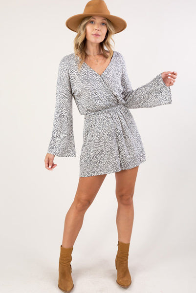 Beautiful Bell Sleeve Romper Charcoal