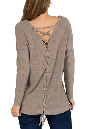 Pullover w/ Lace Up Back