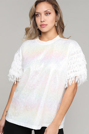 Foiled Shirt w Fringe Sleeve