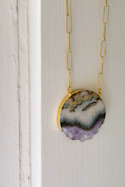 Sienna Amethyst Sliced Moon Necklace