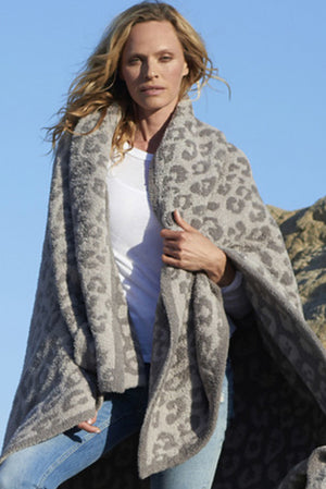 Barefoot Dreams CozyChic Into the Wild Throw Linen Grey