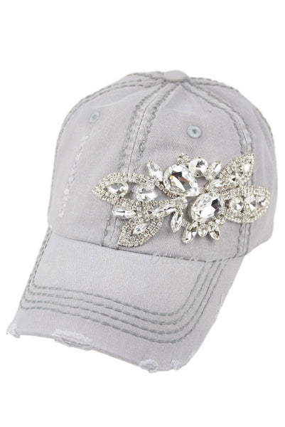 Hand Blinged Hat w Crystal