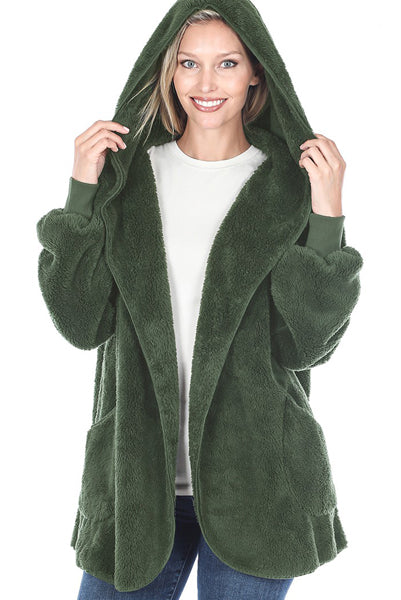 Hunter Green Faux Fur Sweater