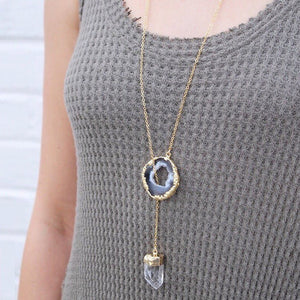Issy Quartz Lariat Necklace