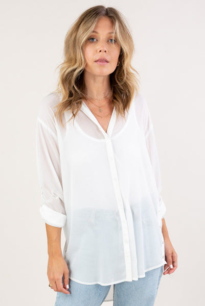 Open Air Button Up Shirt White