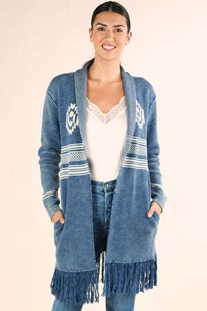 Navajo Sweater w Fringed Hem