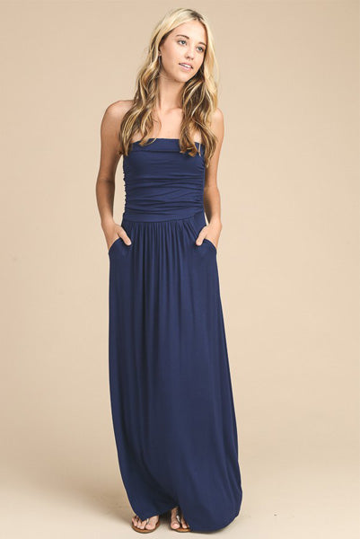 Basic Navy Maxi Dress w Pockets