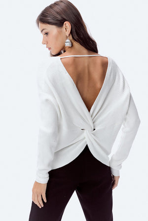 Open Back Winter White Sweater