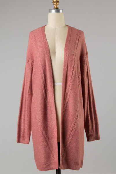 Long Crochet Cardi Rose