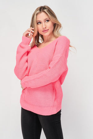 Pink Deep V Back Sweater