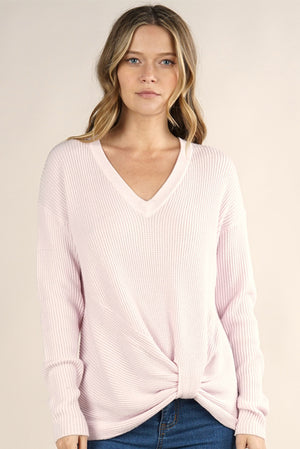 V-Neck Thermal Waffle Sweater Pink