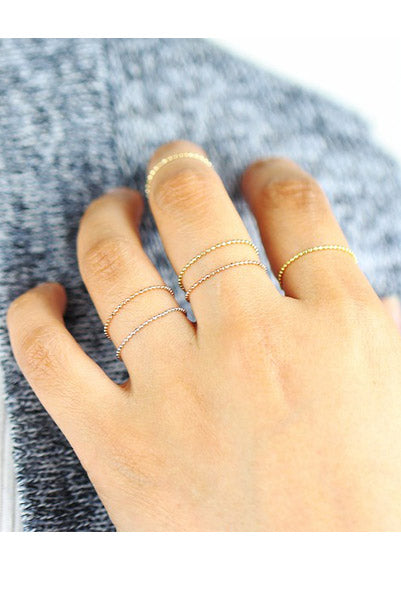 SOLID 14k Gold Ball Chain Ring