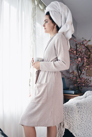 Barefoot Dreams Ribbed Robe Rose/Pearl