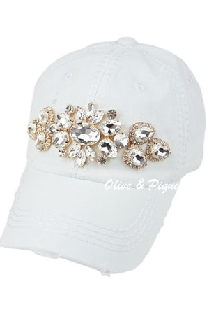 Hand Blinged Hat w Gold Facets
