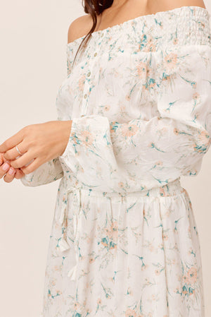 Floral OTS Mini Dress