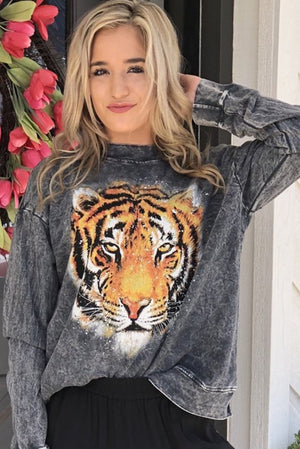 Acid Wash Tiger Graphic Sweater