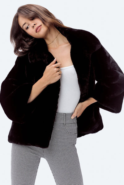 Vintage Inspired Black Faux Fur Jacket