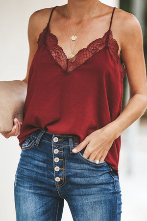 Gorgeous Wine Lace Trim Tank (4th SELLOUT)