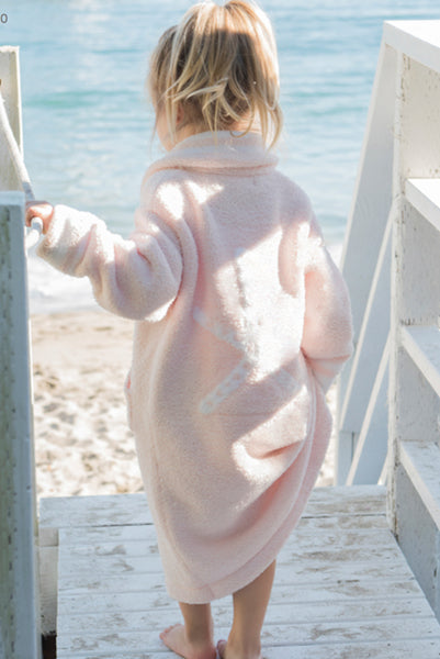 Barefoot Dreams Kids Starfish Robe Sunrise Pink 4-5T