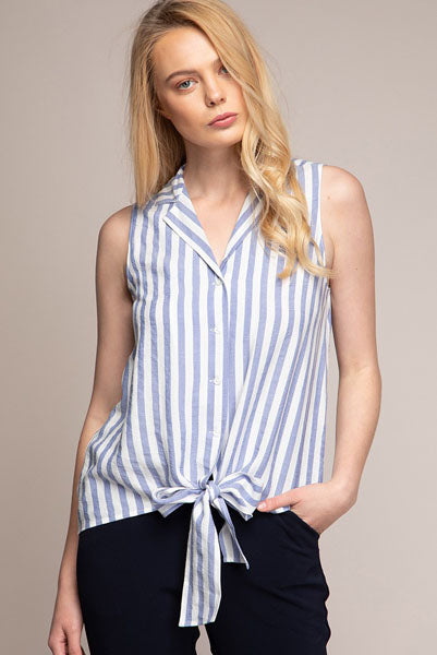 Button Down Blouse w Tie Front