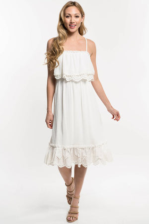 Love Stitch Lined White Dress