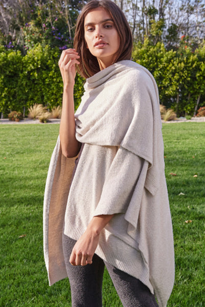 Barefoot Dreams Heathered Weekend Wrap Stone/Pearl