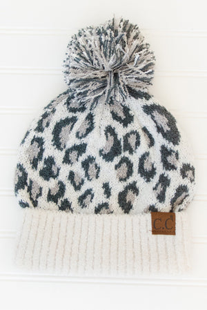 Animal Print Slouchy Toque White