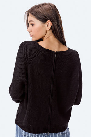 Rib Zip Back Sweater