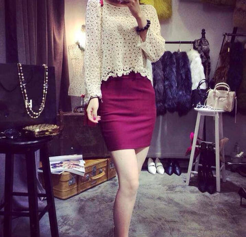 Lace Hollow Blouse + Skirt 2 piece set - VS FASHIONS