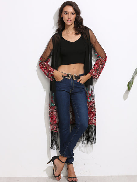 Transparent Embroidered Applique Detail Fringe Kimono