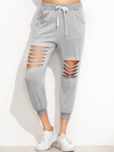 Grey Ladder Cut Out Drawstring Pants Sportswear