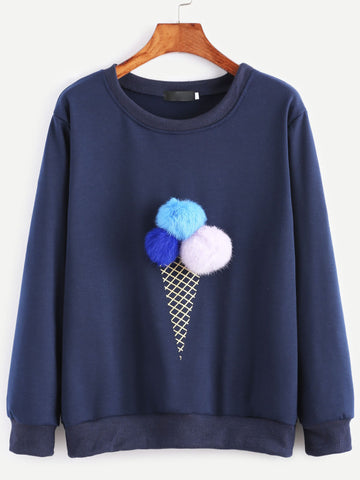 Navy Ice Cream Print Pom Pom Sweatshirt