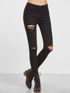 Black High Waist Ripped Denim Pant