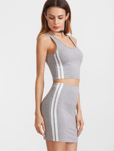 Heather Grey Double Scoop Neck Side Striped Tank Top With Skirt Sportswear