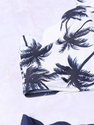 Blue Coconut Tree Print Scalloped Trim Bikini Set Swimsuit - VS FASHIONS