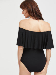 Black Ruffle Off The Shoulder Bodysuit
